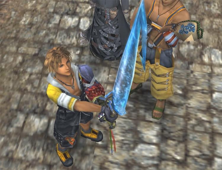 Tidus Brotherhood Sword Cutscene Screenshot from FFX HD