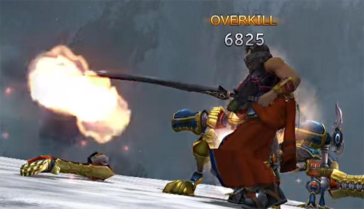 Auron killing a machina in FFX HD