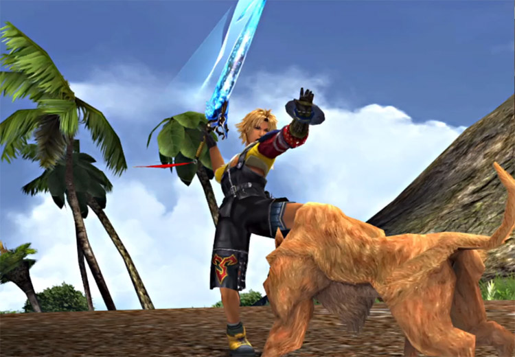Tidus sword swing battle on Besaid Island
