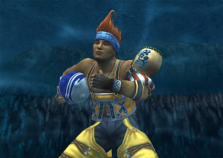 Wakka battle underwater in FFX HD