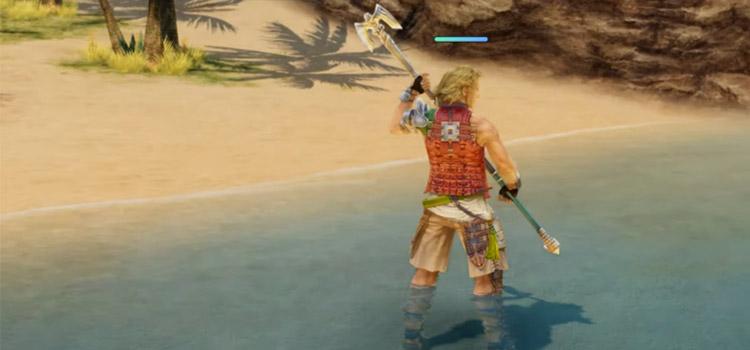 Basch Staff Weapon in Ocean in FF12 The Zodiac Age