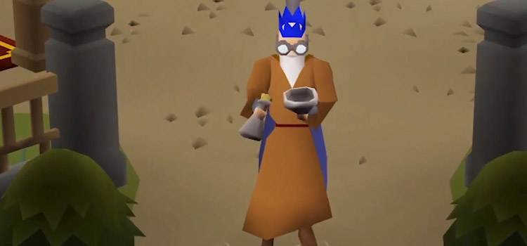 OSRS Character Doing Herblore Creating Potion