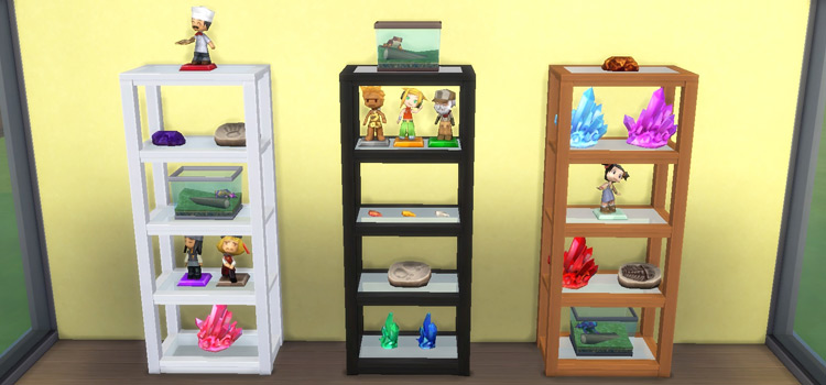 Grand designs collectible shelves CC for The Sims 4