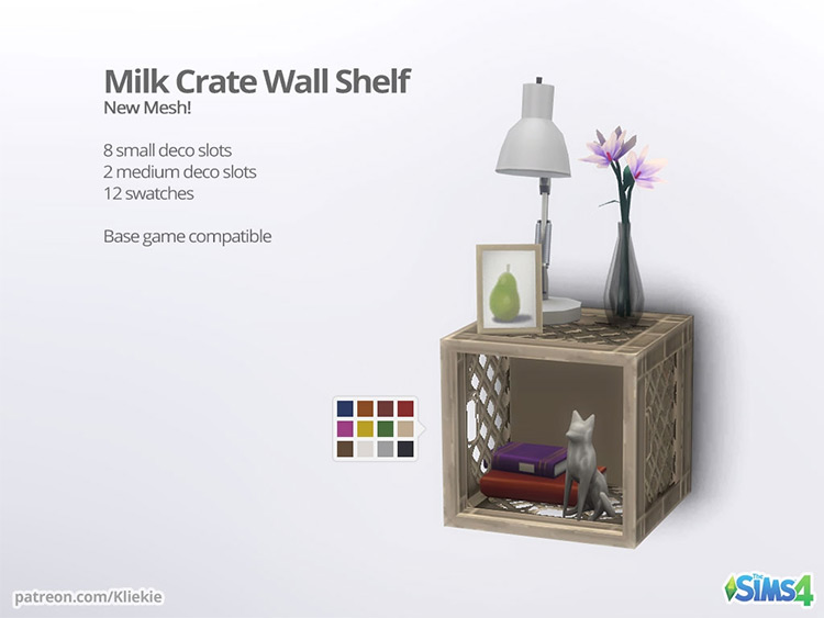 Milk Crate Wall Shelf for Sims 4