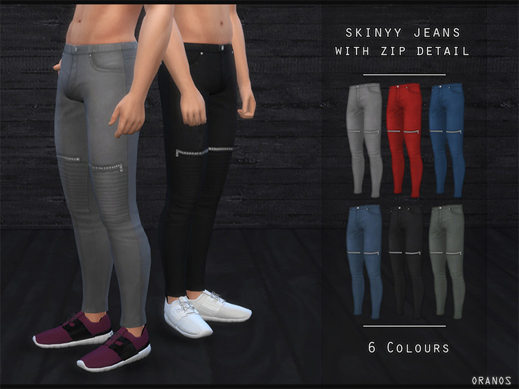 Skinny Jeans With Zip Detail TS4 CC