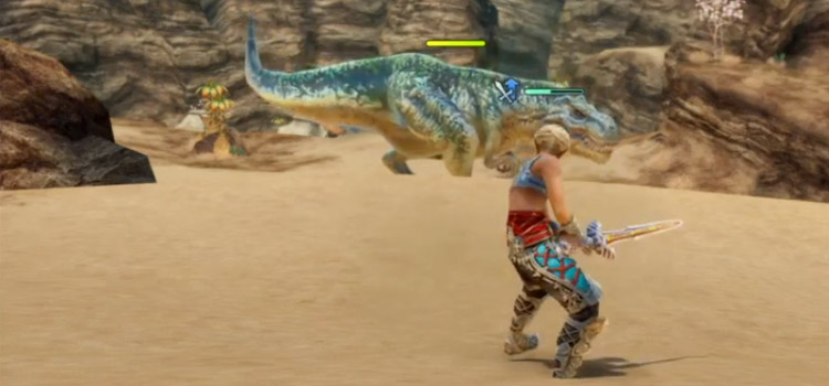 Vaan and a wild Saurian in FFXII The Zodiac Age