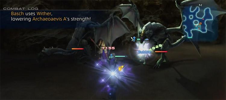 Two Archaeoaevis in battle / FF12 Zodiac Age screenshot