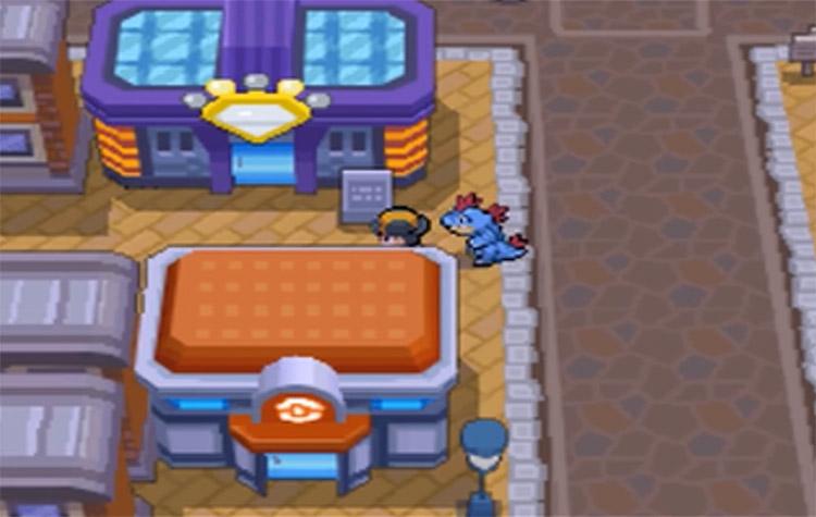 Outside Goldenrod Game Corner in Pokemon HGSS