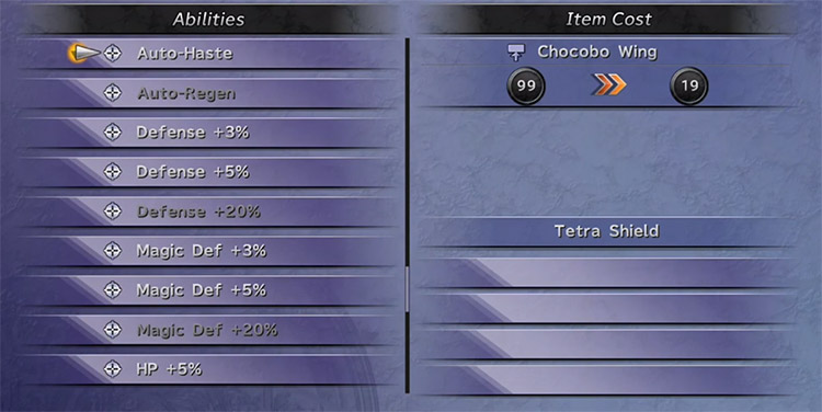 Customization and items screen in FFX HD