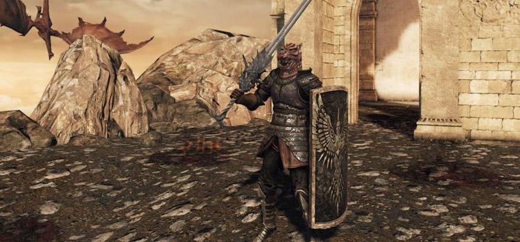 Dragon Hunter with Rebel's Greatshield in DS2