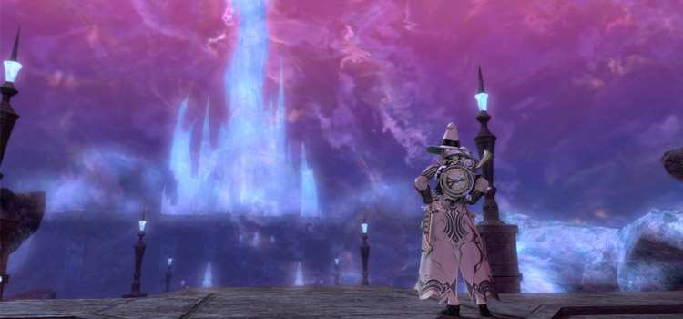 Crystal Tower seen from Mor Dhona / FFXIV Screenshot