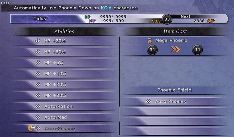 Customized auto phoenix on armor in FFX HD