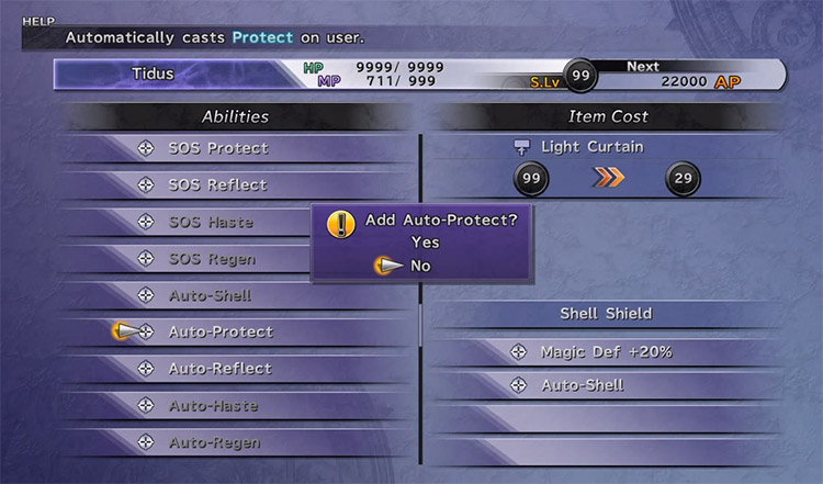 customizing auto protect onto armor in FFX HD