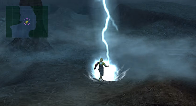 Tidus hit by lightning using no encounters in Thunder Plains
