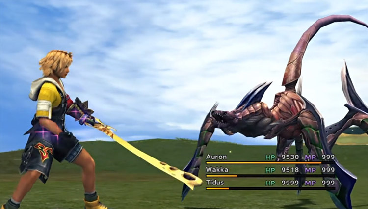 Tidus close to an enemy in FFX HD
