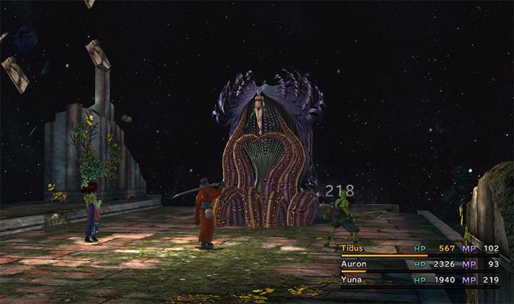 Zombie battle against Yunalesca in FFX HD