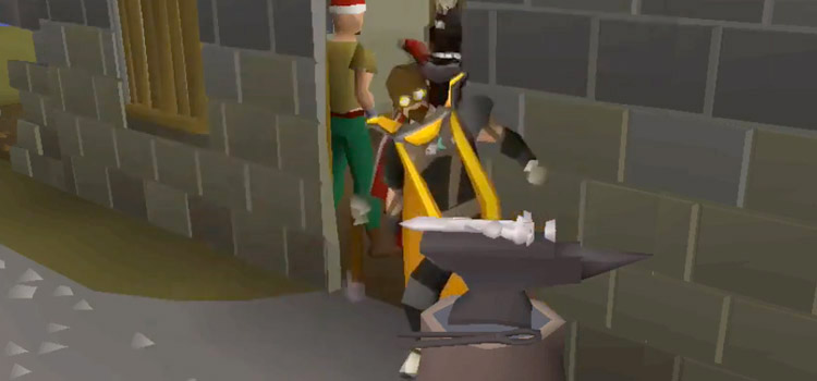OSRS character with goggles smithing on anvil