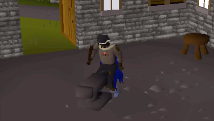 Smithing anvil practice up close in OSRS