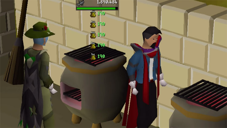 Cooking on a range in OSRS