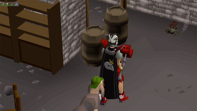 Untrimmed slayer cape with bloodhound pet in OSRS