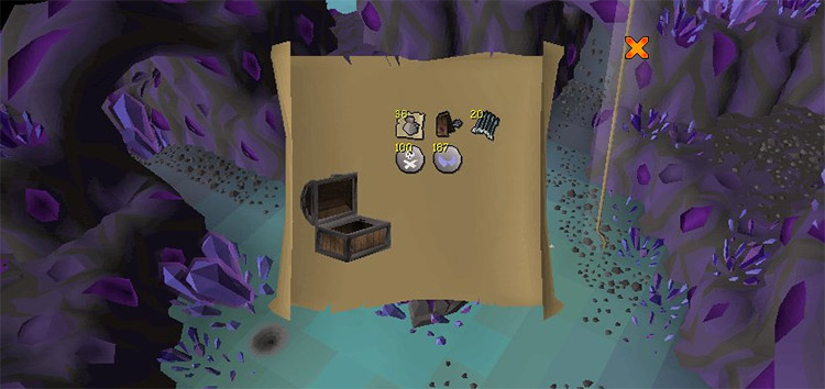 Opened clue scroll with contents