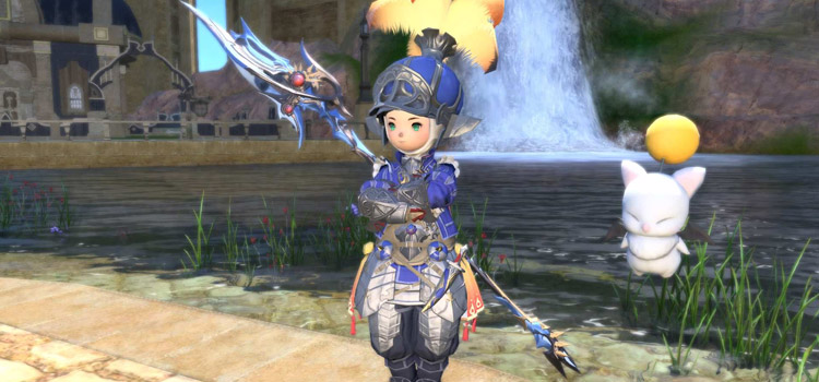 Blue Onion Knight with Moogle in FFXIV