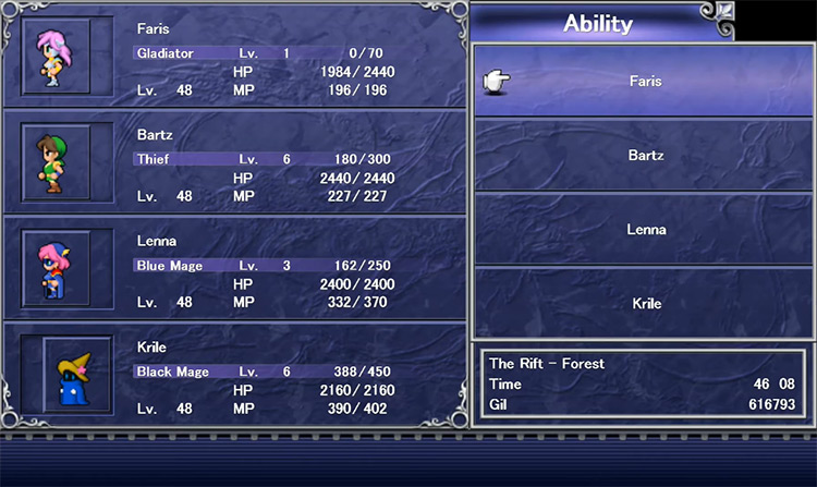 Level up abilities screen in Final Fantasy V