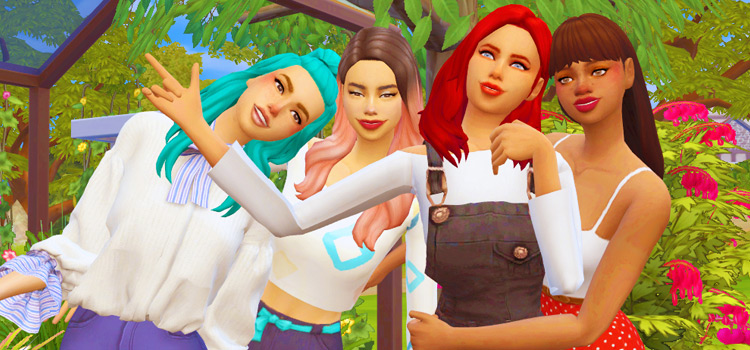 Bestfriend group poses in The Sims 4