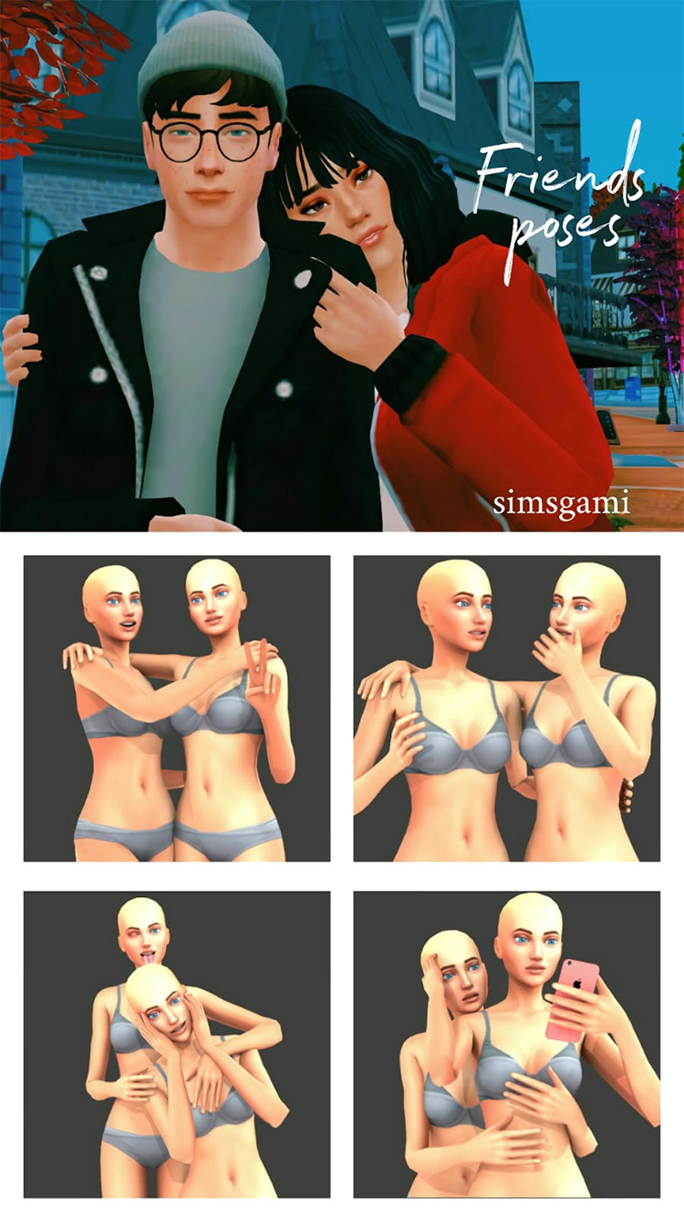 Close Friends Poses by simsgami TS4 CC