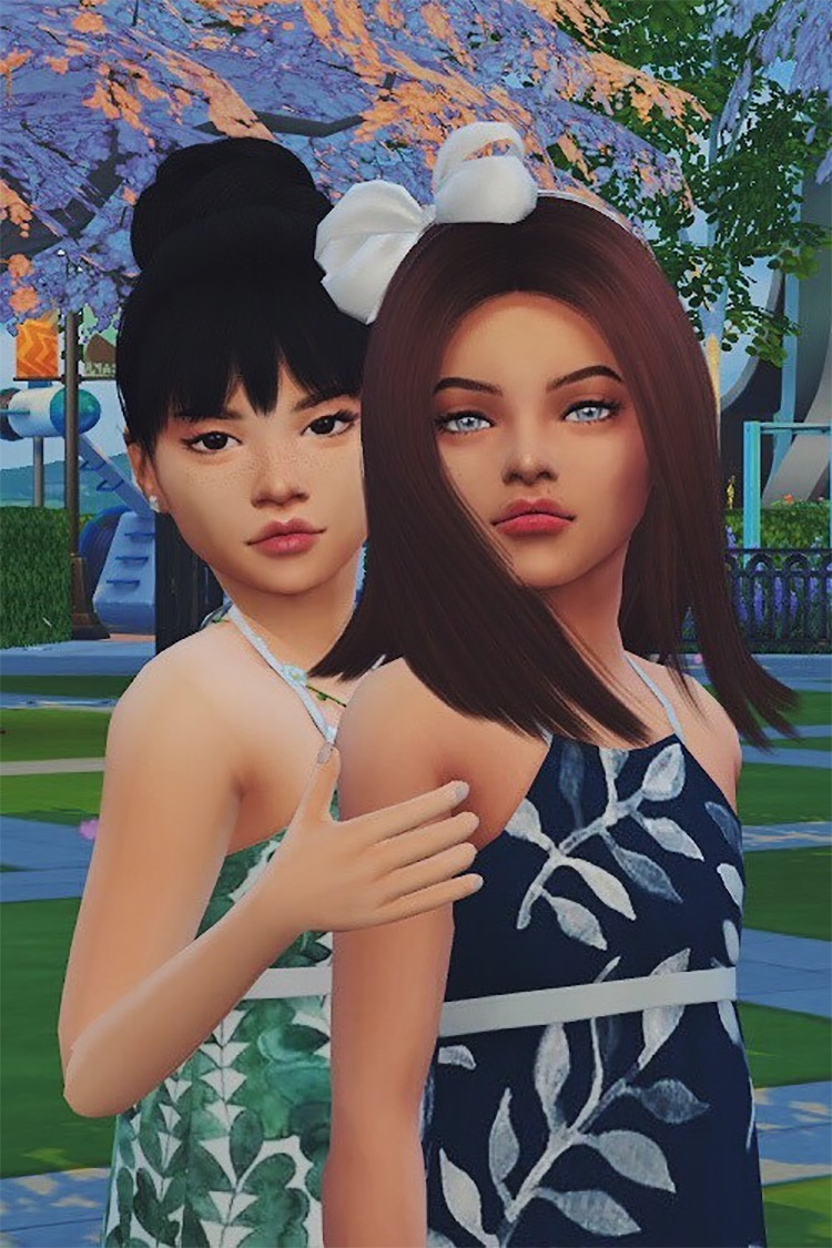 Child Best Friends Pose Pack by HELLASIM for Sims 4