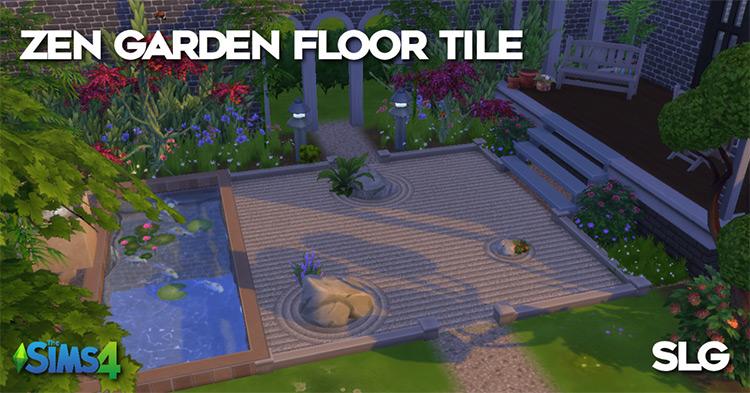 Zen Garden Sand Floor Tile for Sims 4