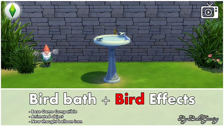 Bird Bath + Bird Effects for Sims 4