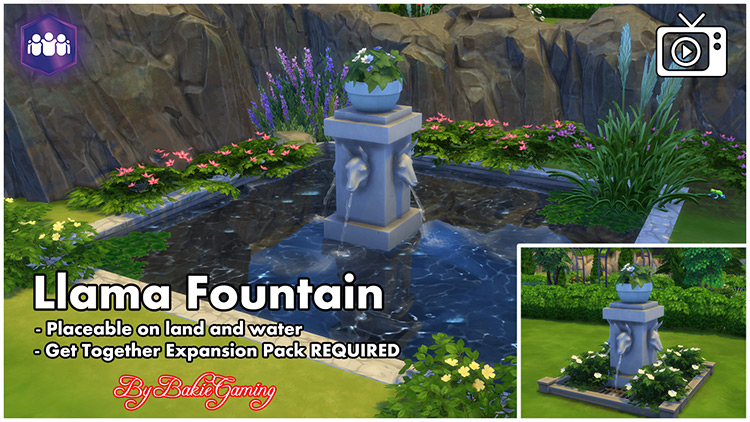 Llama Fountain Sims 4 CC