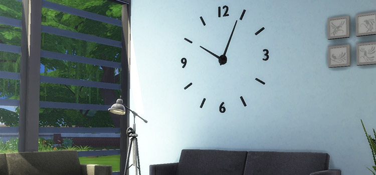 Large simple wall clock for The Sims 4