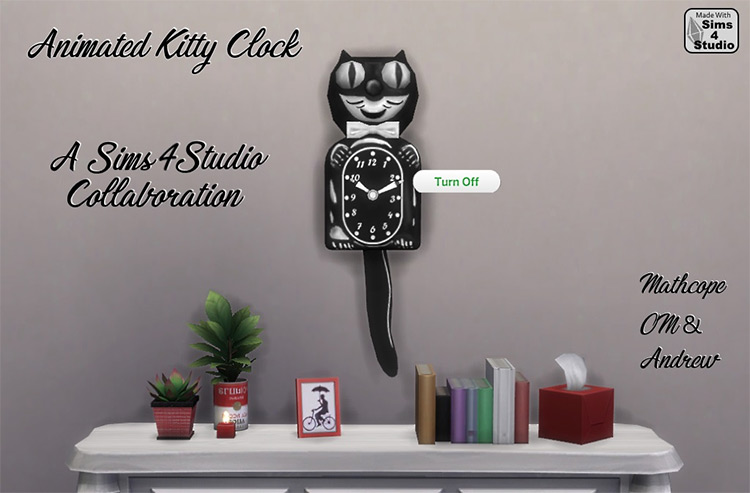 Animated Kitty Clock for Sims 4