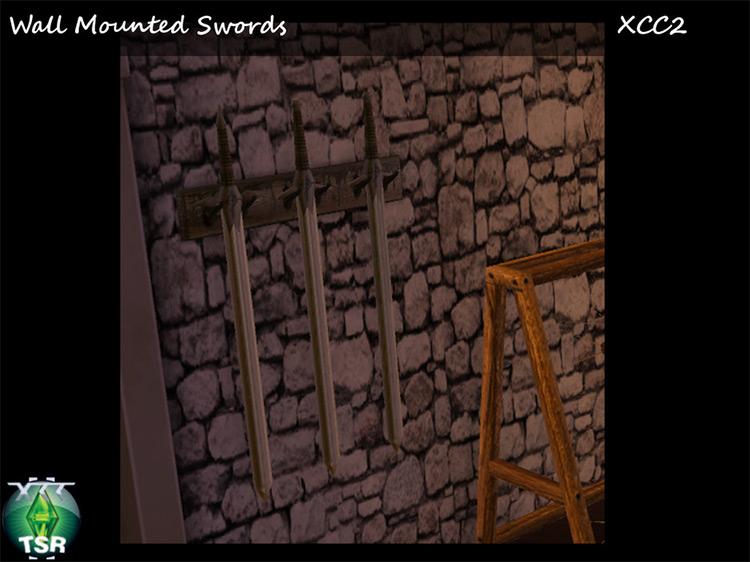 TS4 Wall Mounted Swords Sims 4 CC