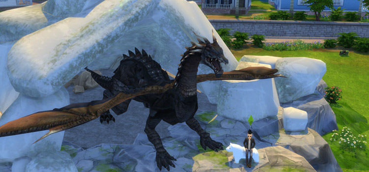 Dark Moonlight Dragon Décor for The Sims 4