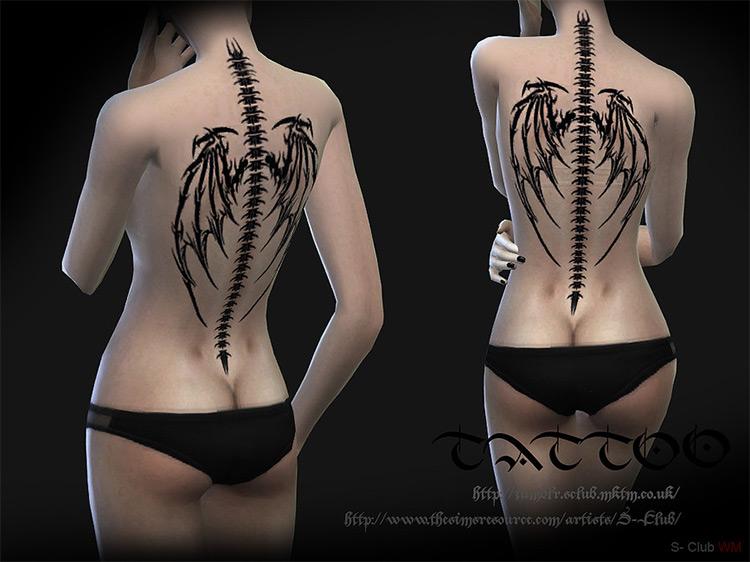 Tattoo Back 01 Sims 4 CC