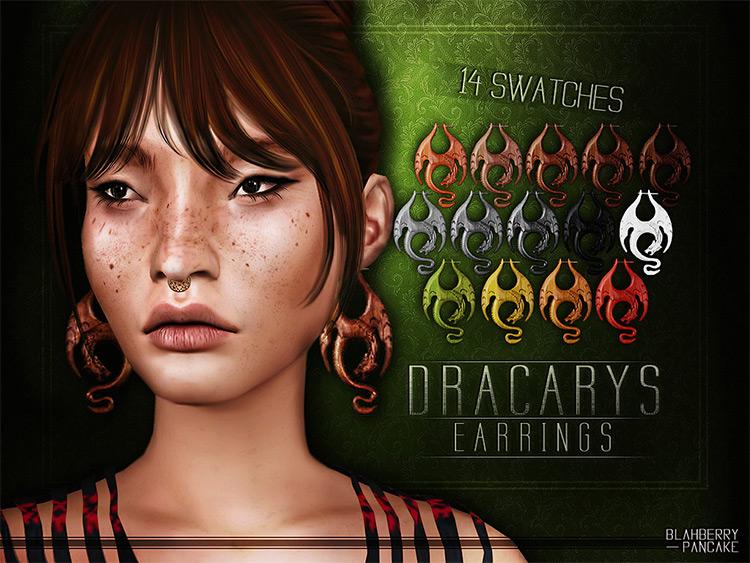 Dracarys Earrings for Sims 4