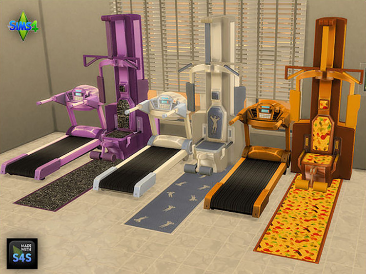 Gym Machines and Matching Floor Mats for Sims 4