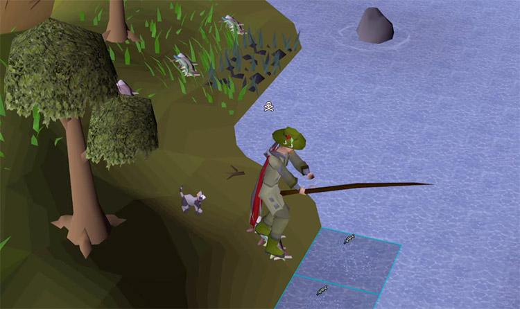 HD Fishing by lake in Old School RuneScape