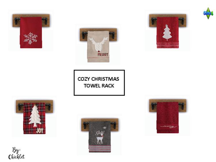 Cozy Christmas Towel Racks for Sims 4