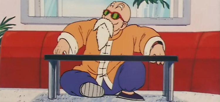 Master Roshi sitting in Dragon Ball anime
