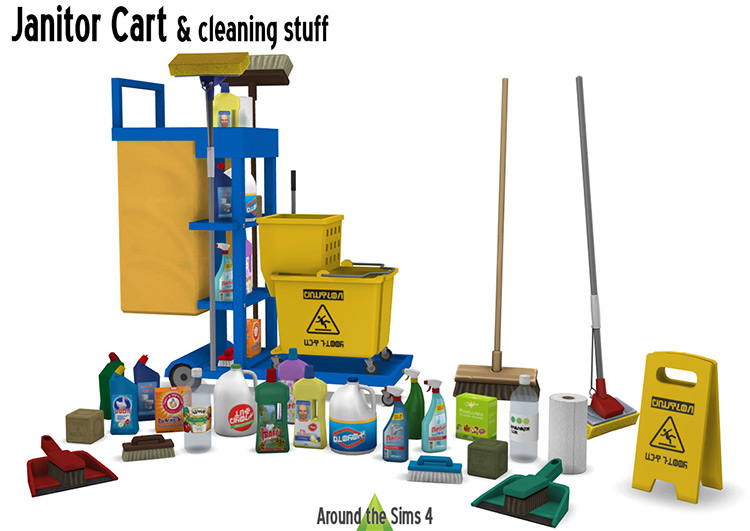 Janitor Cart & Cleaning Stuff Sims 4 CC