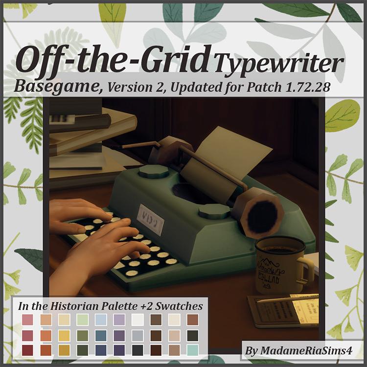 Off-the-Grid Typewriter / Sims 4 CC