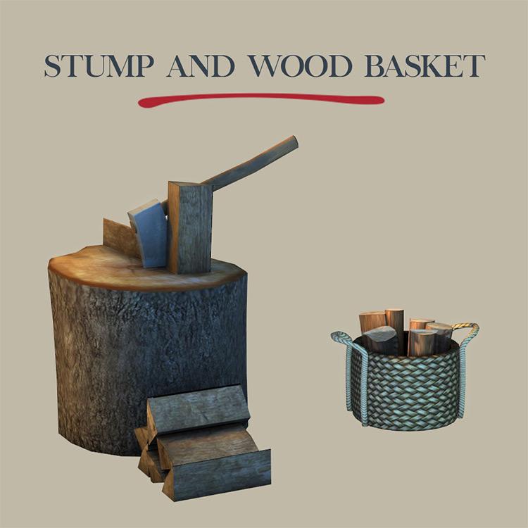 Stump and Wood Basket / TS4 CC