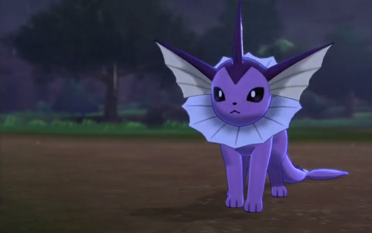 Shiny Vaporeon in Pokémon Sword and Shield