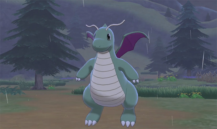 Green Shiny Dragonite in Pokémon SWSH