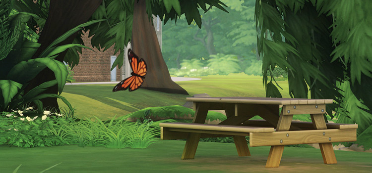 ClearBloom reshade park bench screenshot in Sims4