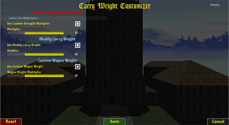 Carry Weight Customizer Daggerfall Unity mod
